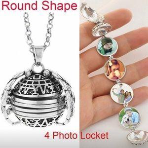 Silver Photo Heart Pendant Memory Locket Necklace